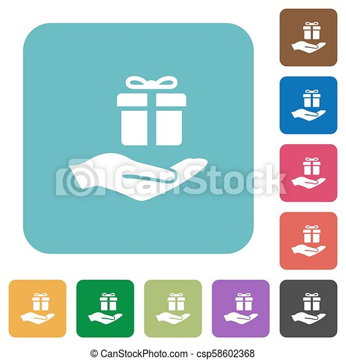 Gifting rounded square flat icons - csp58602368