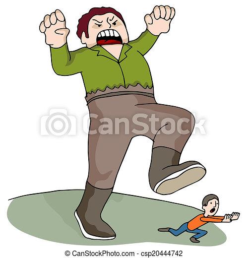 Un hombre gigante persiguiendo - csp20444742