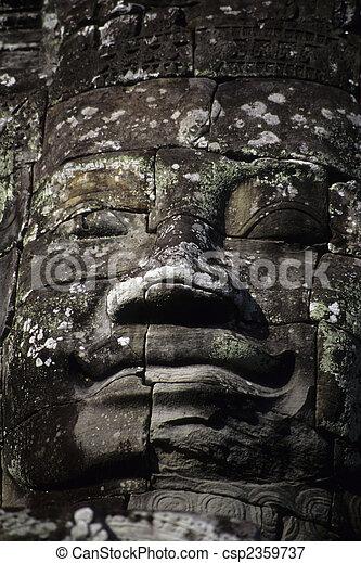 gigantesque, angkor, temple-, cambodi, statues, wat, figure, khmer, ruines - csp2359737