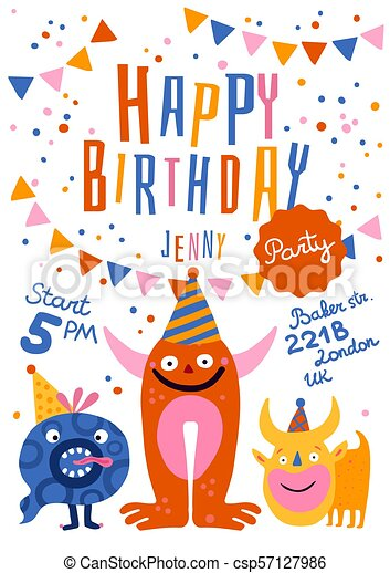 gilde, fødselsdag, glade, plakat - csp57127986