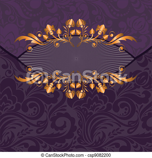 gilded decor on a purple - csp9082200