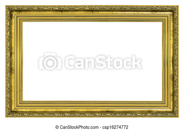 Gilded frame with thick border isolated on white background.