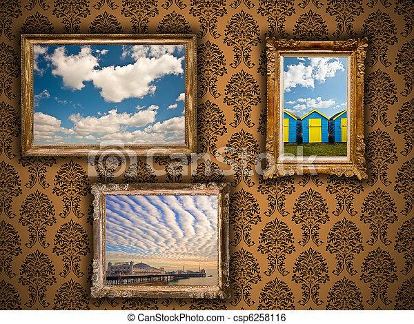 Gilded frames on damask wallpaper with vibrant summer images. Gilded ...