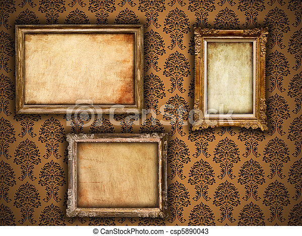 Gilded frames on vintage damask style wallpaper background and grunge retro paper inserts - csp5890043