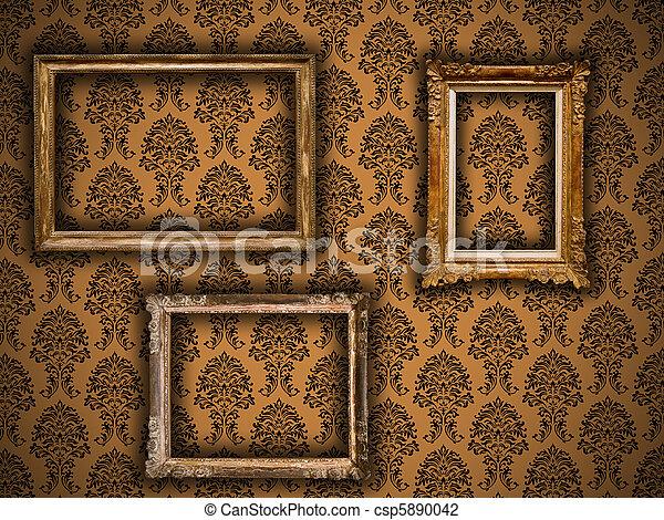 Gilded Vintage Frames On Damask Wallpaper Background