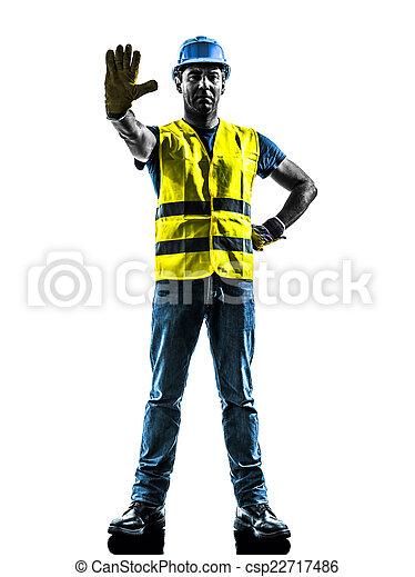 gilet, silhouette, ouvrier, arrêt, construction, sécurité, geste - csp22717486