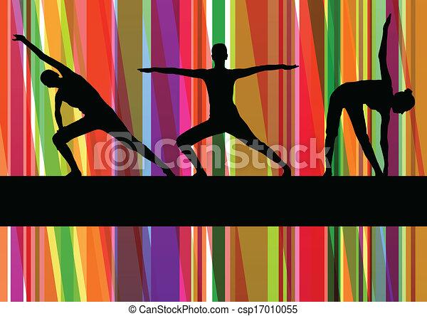 Los ejercicios de gimnasia femeninos ilustran el colorido vector de fondo - csp17010055
