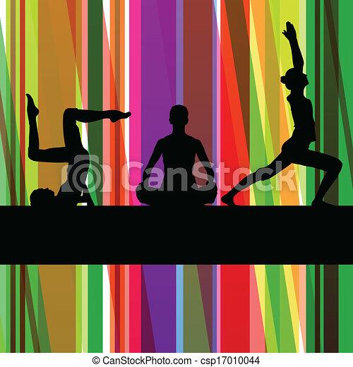 Ejercicios de gimnasia ilustración de la línea colorida vector de fondo - csp17010044