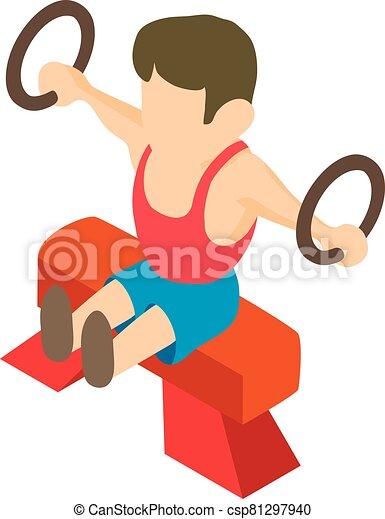 gimnasta, hombre, estilo, isométrico, icono - csp81297940