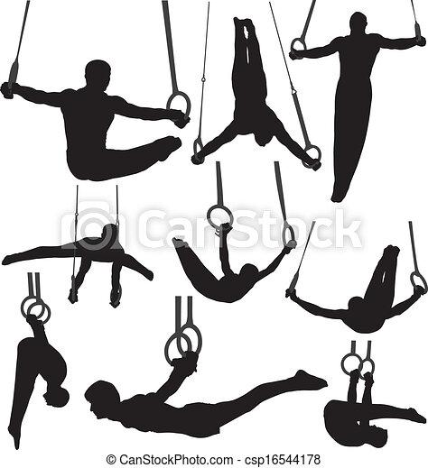 gimnastyka, sylwetka, wektor, dzwoni - csp16544178