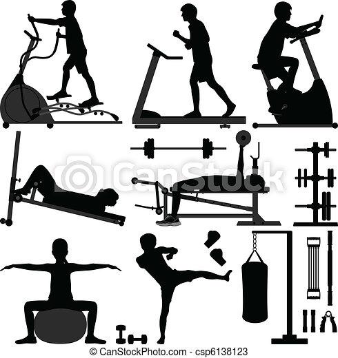 ginásio, homem, malhação, exercício, ginásio - csp6138123