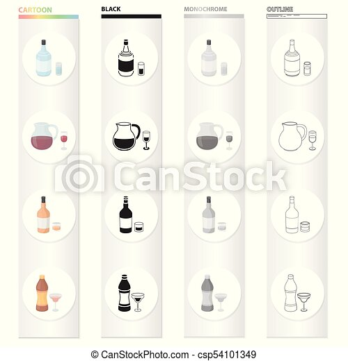 Gin, strong alcohol Rum, wine sangria, vermouth tincture  Alcohol set  collection icons in cartoon black monochrome outline style vector symbol  stock