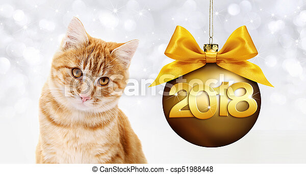 ginger cat and golden christmas ball with ribbon bow and gold 2018 text - csp51988448