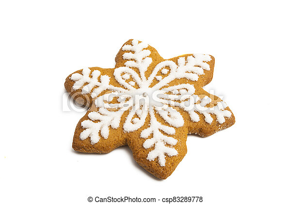 ginger christmas cookie isolated - csp83289778