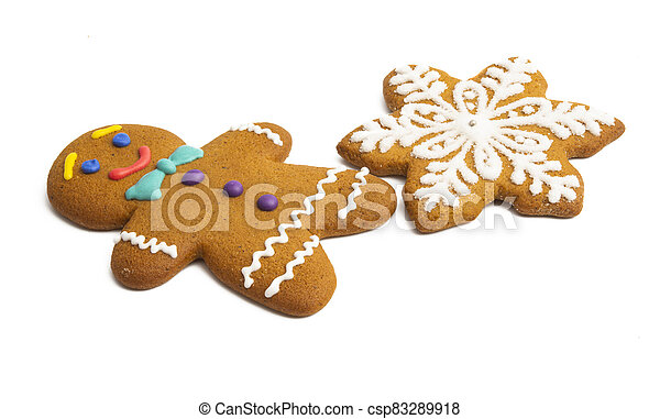 ginger christmas cookie isolated - csp83289918