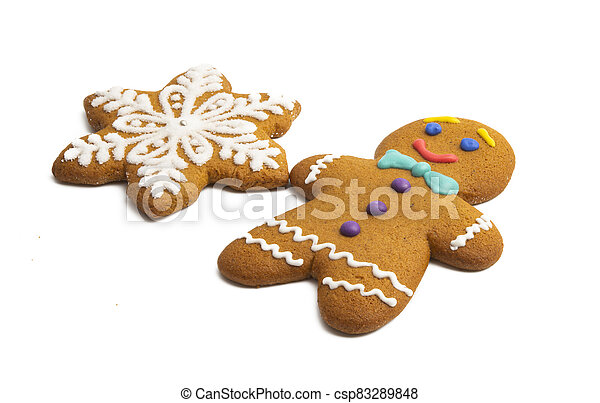 ginger christmas cookie isolated - csp83289848