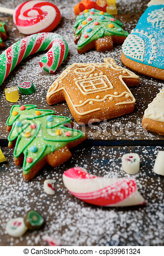 Ginger Christmas Cookies Cane And Candy Strewn With Snow