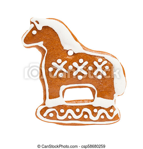 Ginger Cookie Isolated on White Background. Gingerbread Christmas Food, Horse Figure - csp58680259