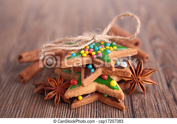ginger cookie on wood background - csp17207383