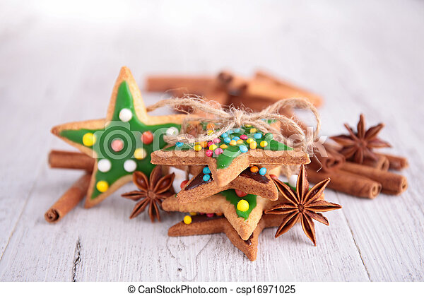 ginger cookie on wood background - csp16971025