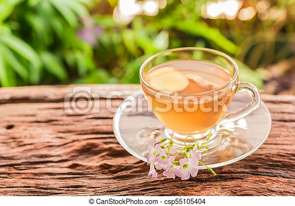 Ginger teacup with ginger slices - csp55105404