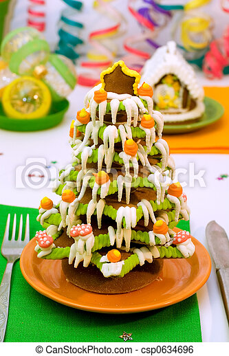 Gingerbread Christmas tree and house - csp0634696