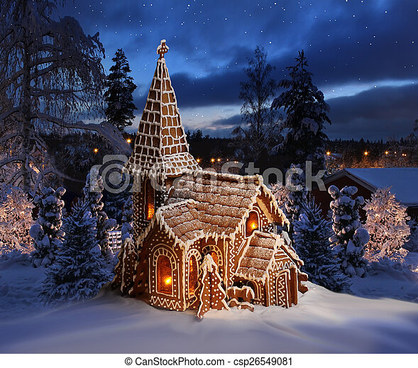 Snowy Christmas.Gingerbread Church On Snowy Christmas Night Landscape
