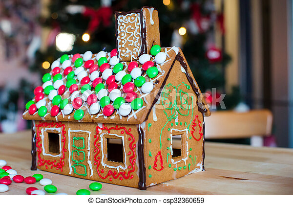 Christmas Gingerbread House Background.Gingerbread Cookie And Candy Ginger House Background Christmas Tree Lights