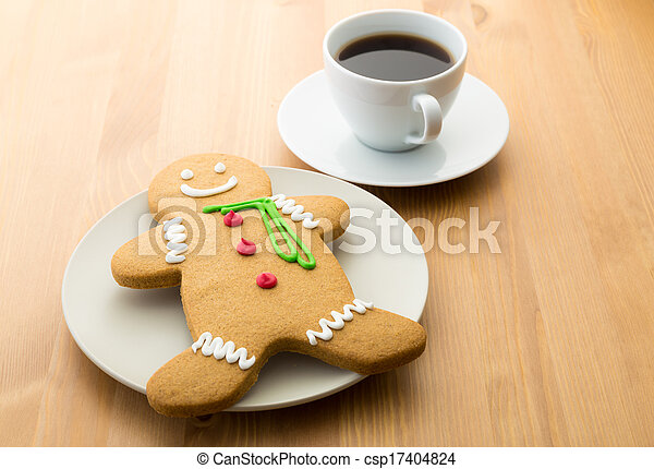 Gingerbread cookie and coffee - csp17404824