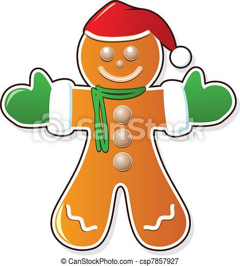 gingerbread cookie in santa's claus hat - csp7857927