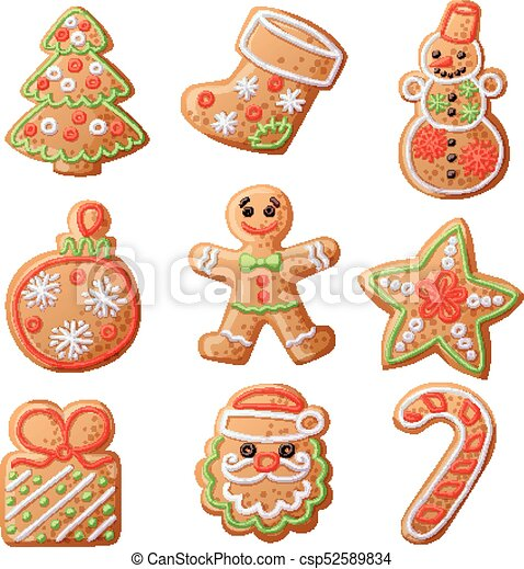 Gingerbread Cookies Set Isolated On White