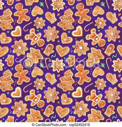 Gingerbread Cookies Watercolor Seamless Pattern