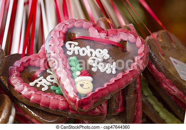 Gingerbread Hearts On German Christmas Market