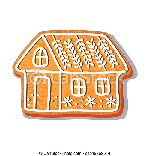 Christmas Gingerbread House Cartoon.Gingerbread House Cookie Vector Illustration