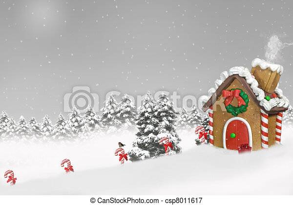 gingerbread house in snow - csp8011617