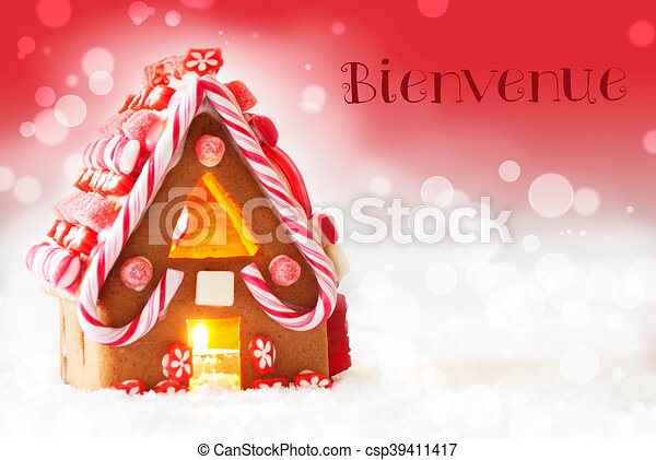 Gingerbread House, Red Background, Bienvenue Means Welcome - csp39411417