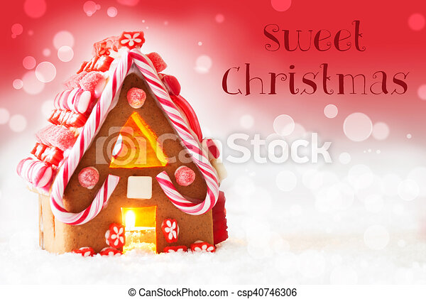 Gingerbread House, Red Background, Text Sweet Christmas - csp40746306