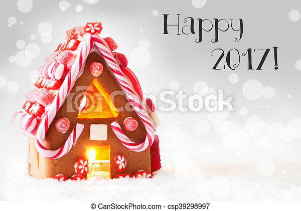 Gingerbread House, Silver Background, Text Happy 2017 - csp39298997