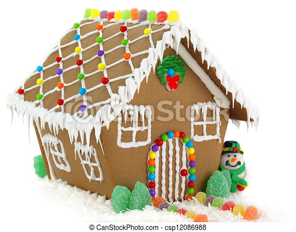 gingerbread house and snowman on the white background rh canstockphoto com gingerbread house clipart pinterest gingerbread house border clipart