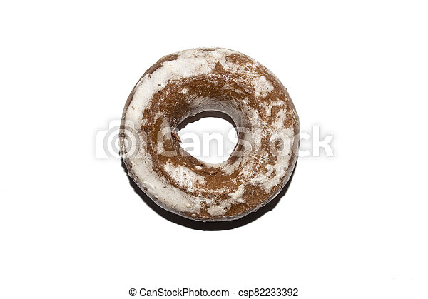Gingerbread in the form of dries on a white background. - csp82233392