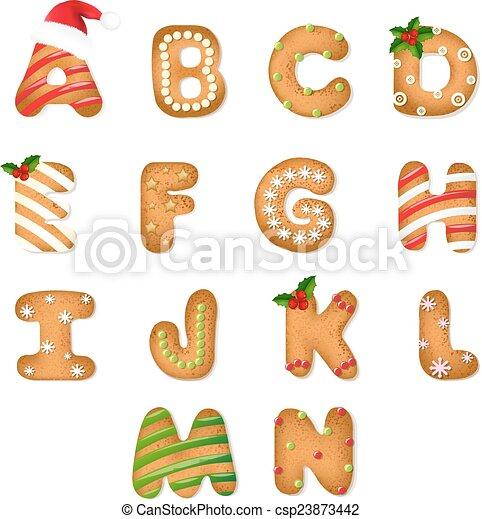 gingerbread koekje, kerstmis, alfabet - csp23873442