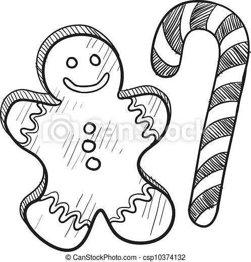Gingerbread man and candy cane - csp10374132
