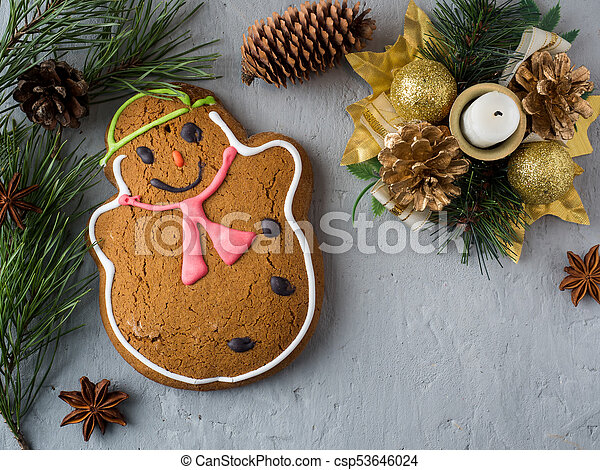 gingerbread man christmas holiday background with decorations copy space csp53646024