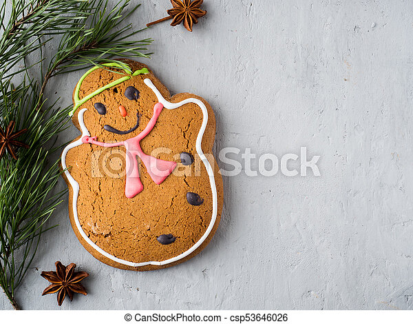 Gingerbread Man Christmas Holiday Background with Decorations Copy space - csp53646026