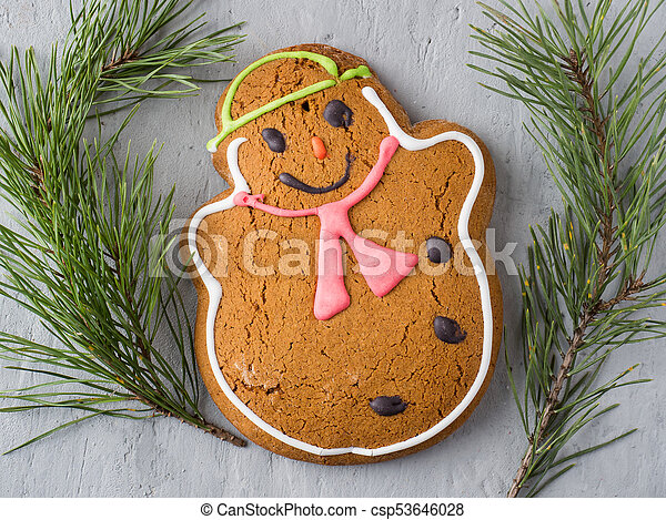Gingerbread Man Christmas Holiday Background with Decorations Copy space - csp53646028