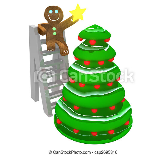 Gingerbread Man Decorating Tree