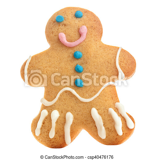 Gingerbread man isolated over white background. Holiday Christmas cookie - csp40476176
