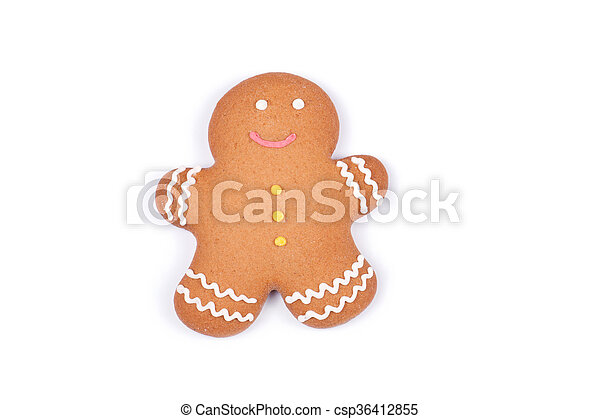 Gingerbread man on a white background. - csp36412855