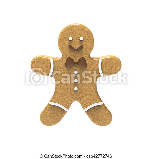 Gingerbread man on a white background - csp42772746