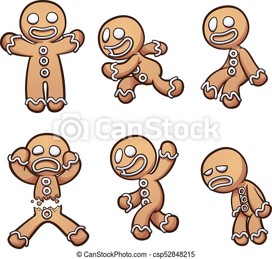 Gingerbread Man In Different Poses Vector Clip Art Illustration With Simple Gradients Each On A Separate Layer
